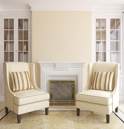 Interiore moderno del salone con camino. Rendering 3D.