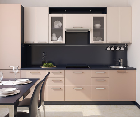 from the front: Modern kitchen interior. 3d render.