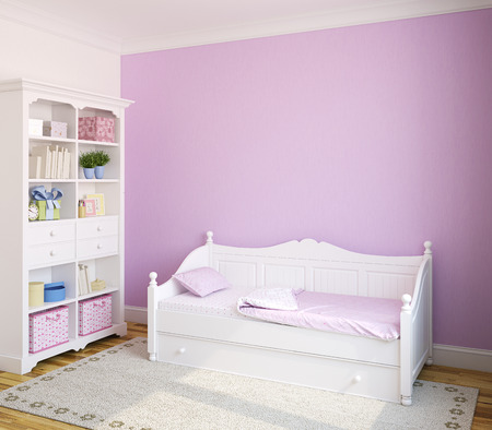 Colorful interior of toddler room with white furniture and violet wall. 3d render.