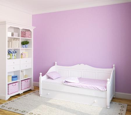 violeta: Interior colorido de la habitación del niño con muebles de color blanco y la pared violeta. 3d.