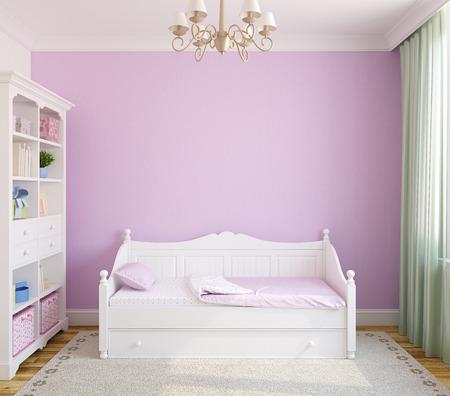 화이트 가구와 보라색 벽 유아 룸의 인테리어입니다. 정면보기. 3D 렌더링합니다.