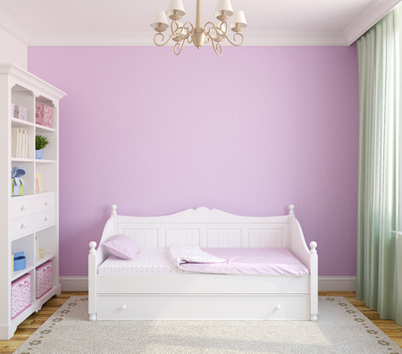 bed: Interior of toddler room with white furniture and violet wall. Frontal view. 3d render.