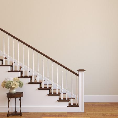 Escalera blanca en la casa moderna. 3d.