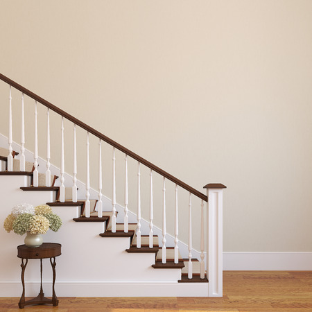 wooden stairs: White stairway in the modern house. 3d render.
