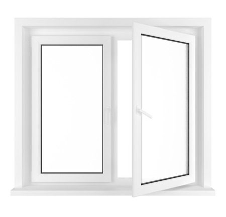 New half opened plastic glass window frame isolated on white background.