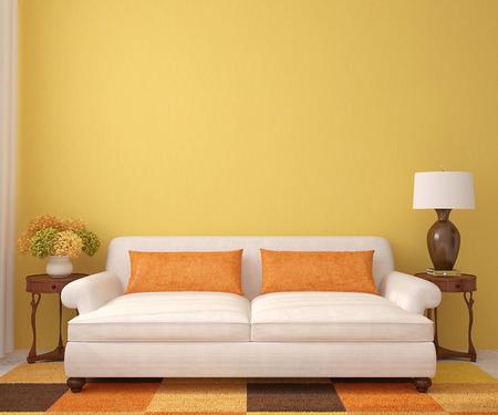 Schönes Wohnzimmer Mit Weißen Couch In Der Nähe Von Leere Gelbe Wand.  3D Darstellung