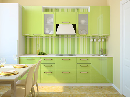 Modern green kitchen. 3d render photo
