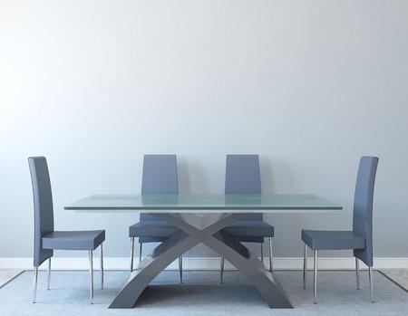 front room: Modern dining-room interior. Minimalism. 3d render.
