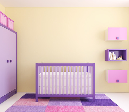 nursery room: Modern interior of nursery with crib near yellow wall. Frontal view. 3d render.