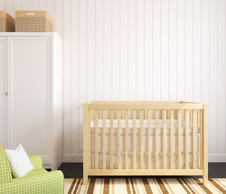 baby wardrobe: Cozy interior of nursery with wooden crib. Frontal view. 3d render. Stock Photo