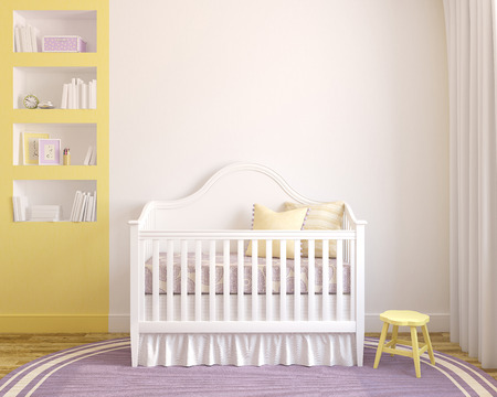room: Colorful interior of nursery. Frontal view. 3d render.  Stock Photo