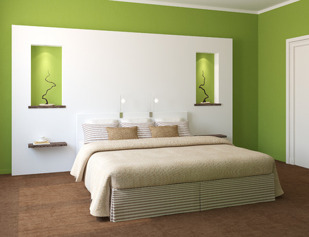 Modern bedroom interior with green walls and king-size bed. 3d render. Stock Photo