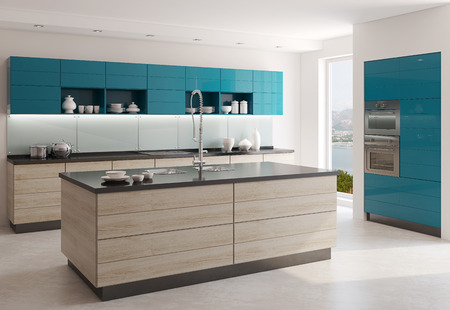 Interior of modern kitchen. 3d  render. Photo behind the window was made by me. Stockfoto