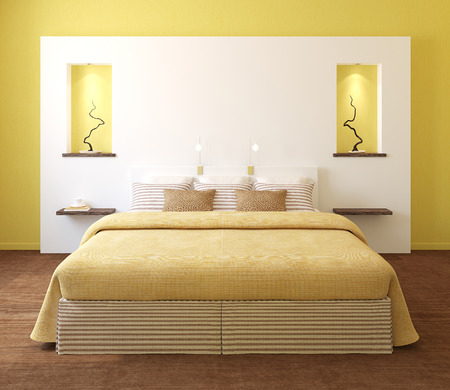 3d bedroom: Modern bedroom interior with yellow walls and king-size bed. 3d render.