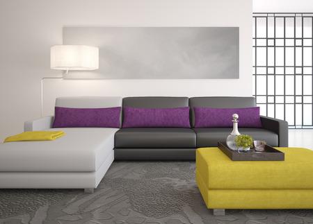render residence: Modern living-room interior. 3d render.