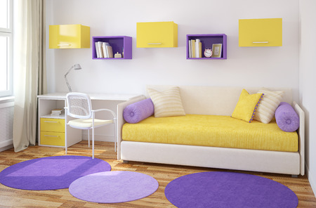 Colorful interior of playroom. 3d render.