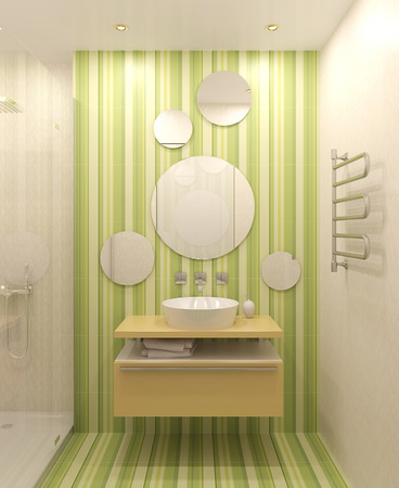 white bathroom: Modern bathroom interior. 3d render.