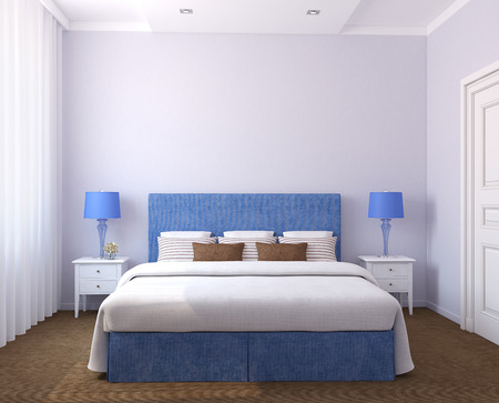 Beautiful bedroom interior. 3d render. Photos on the wall was made by me.