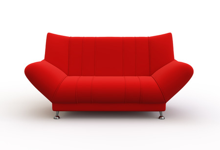 red couch: Modern red couch isolated on white background.