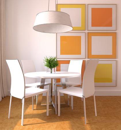 Modern dining-room interior. 3d render. Imagens