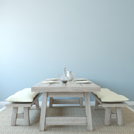 room decoration: Dining-room interior. Country style. 3d render.