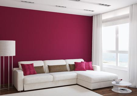 Moderne Wohnzimmer Interieur Mit Weißen Couch In Der Nähe Von Leeren Roten  Wand. 3D
