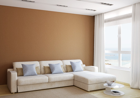 Moderne woonkamer interieur met witte bank in de buurt van lege bruine muur. 3d render.