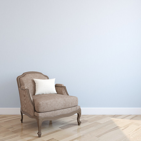 blue walls: Interior with armchair. 3d render.