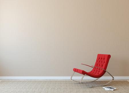 Interior moderno con sillón rojo cerca de la pared beige. Foto en la portada del libro fue hecha por mí. Foto de archivo