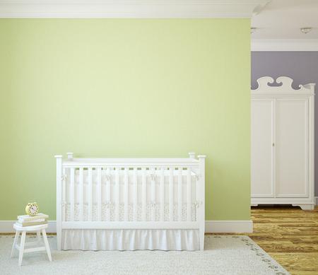 pared madera: Acogedor interior del cuarto de ni�os con cuna blanco cerca de la pared verde. Vista frontal. 3d.