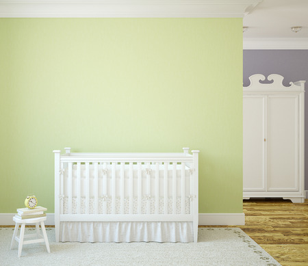 Cozy interior of nursery with white crib near green wall. Frontal view. 3d render.