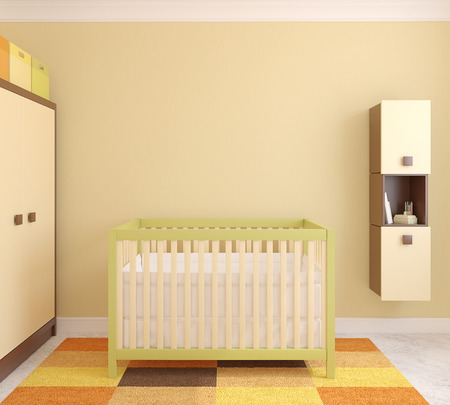 baby wardrobe: Interior of nursery with crib. Frontal view. 3d render. Stock Photo