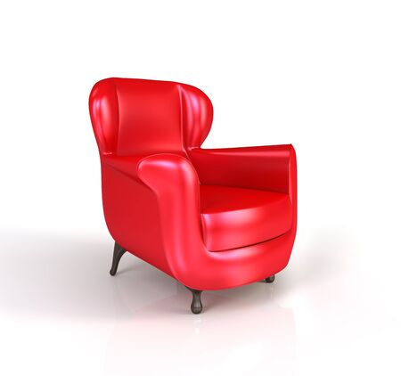 red chair: Modern red armchair isolated on white background. 3d render. Stock Photo
