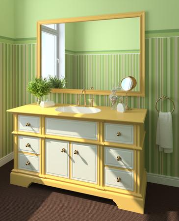 Modern bathroom interior. 3d render. photo