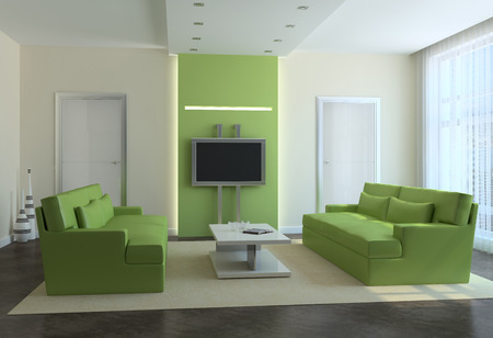 Modern living-room interior. 3d render. photo