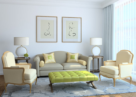 painting house: Modern living-room interior. 3d render.