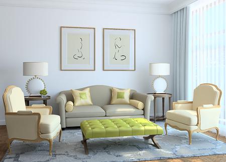 Salon intérieur moderne. 3d render. Banque d'images - 38205175