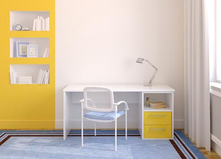 近代的なホーム オフィスのインテリア。3 d のレンダリング。フレーム内写真は photoshop で私が描いた。