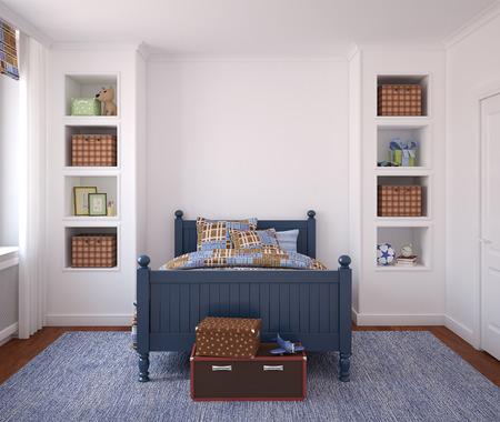 chambre � coucher: Int�rieur de la chambre de gar�on. 3d render.