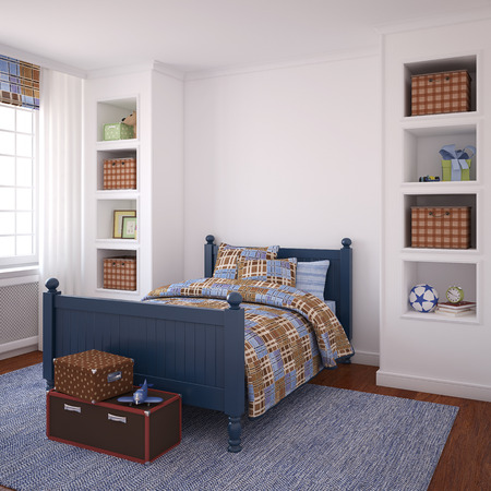 bedrooms: Interior of boys room. 3d render. Stock Photo