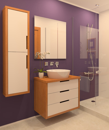 Modern bathroom interior. 3d render. photo