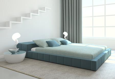 Modern bedroom interior. 3d render.