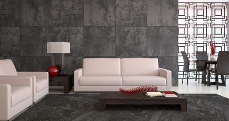 Modern living-room interior. Rendering 3D. Archivio Fotografico