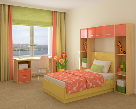 bedroom furniture: Colorful interior of playroom. 3d render.