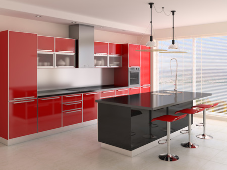 red kitchen: Interior of modern kitchen. 3d  render.
