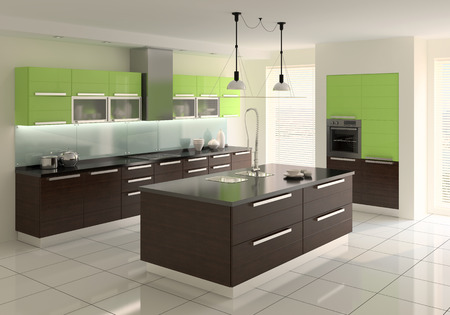 contemporary kitchen: Interior of modern kitchen. 3d  render.