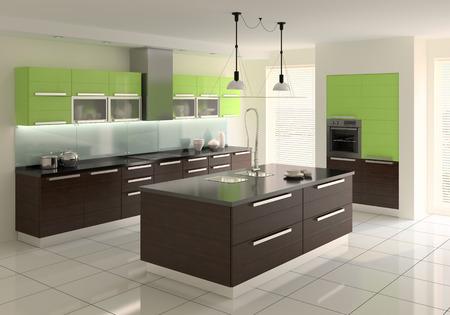 kitchen design: Interior of modern kitchen. 3d  render.