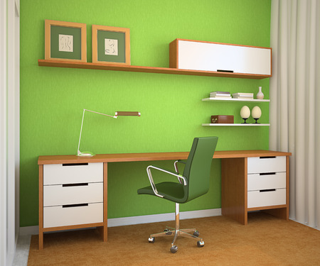 Modern office interior. 3d render. photo