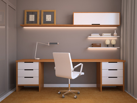 wood furniture: Modern office interior. 3d render