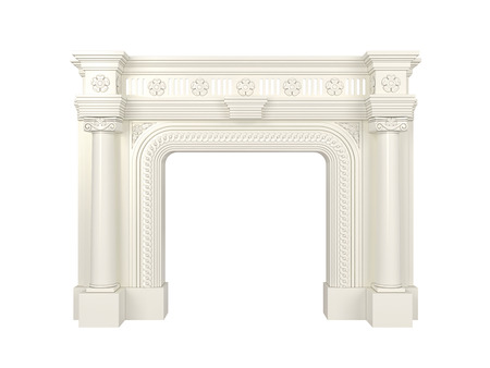 gas fireplace: Classic white fireplace. 3d render.